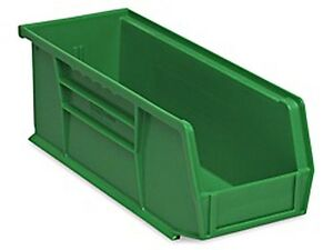 Green Stackable Storage Bin 11 l X 4 w X 4 h Lot Of 12 s 13536g