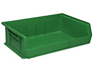 Green Stackable Storage Bin 11 l X 16 1 2 w X 5 h Lot Of 6 s 13537g
