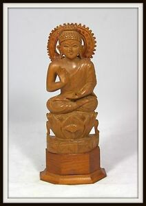 Amazing Hand Carved Chinese Wooden Buddha Sitting On A Lotus Flower 10 High