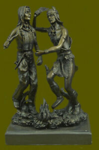 Handcrafted Two Indian Warrior Dancing Over The Fire Bronze Sculpture Figurine
