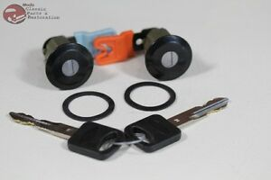 96 04 Mustang Ford Door Lock Cylinder Key Set Black Cap With Pawl New