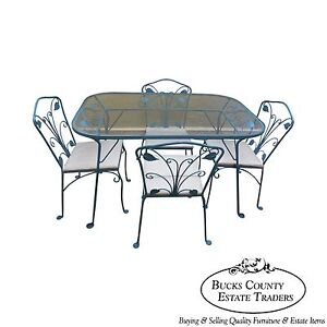 Salterini Wrought Iron Art Nouveau Patio 5 Piece Table Chairs Dining Set