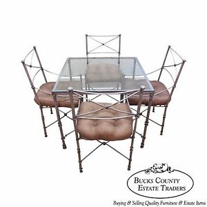 Quality Iron Neo Classical Directoire Style 5 Piece Table Chairs Dining Set