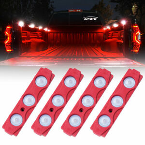 Xprite 4pc 12 Led Rock Lights Under Body Strip Pod Panel 4x4 Off road Truck Red