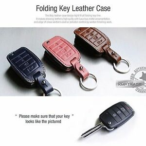 4 Button Stitched Folding Blank Key Leather Case Cover Holder Pouch For Kia Car