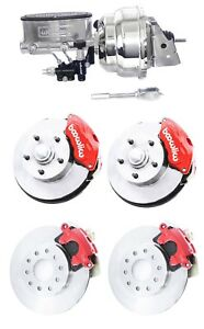 Wilwood Red Front Rear Disc Brake Kit 2 Drop W Chrome Booster Master Cyl