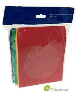 1000 Cd Dvd Assorted Multi Color Paper Sleeves With Window And Flap Envelopes