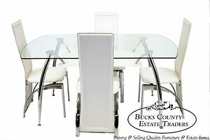 Mid Century Modern Style Chrome Glass Splay Leg Dining Dinette Set