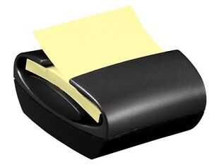 Sleek Stylish Easy to load Black 3 x3 Pop up Sticky Note Office Desk Dispenser