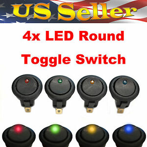 Red Green Yellow Blue Led Light Round Rocker 12v 20a Spst Toggle Switch Car Boat