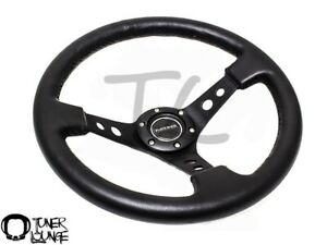 Nrg Steering Wheel 350mm Sport 3 Deep Black Leather W Black Spoke St 006r