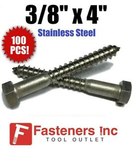 qty 100 3 8 X 4 Lag Screws Bolt Hex Head Stainless Steel 18 8 304