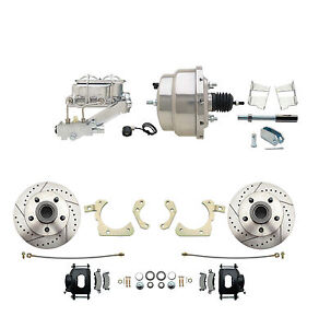 1959 1964 Chevy Impala Bel Air Disc Brake Kit 8 Chrome Booster Black Calipers