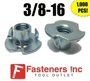 qty 1000 3 Prong T nut 3 8 16 X 7 16 tee Nut Zinc Plated