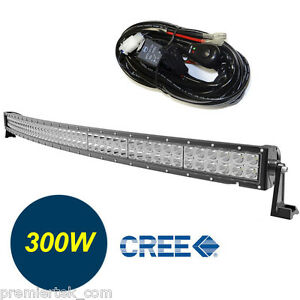 52in Curved Off Road 300w Cree Led Lamp Work Light Bar For Jeep 4wd Relay