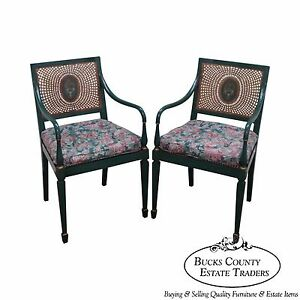 Quality Pair Of Adams Painted Caned Arm Chairs