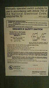Square D Heavy Duty Safety Switch 200 Amp 240v Dc Double Throw