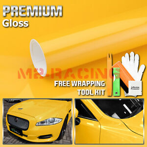 Gloss Glossy Yellow Vinyl Car Wrap Sticker Decal Bubble Free Air Release Film
