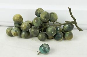 Antique Italian Carved Stone Alabaster Marble Painted Fruit Bunch Black Grapes