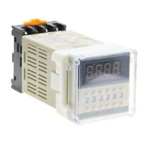 Ac220v Programmable Time Delay Relay Dh48s s With Socket Base