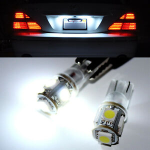 2x White T10 Wedge 5 Smd 5050 168 194 2825 W5w Led Car License Plate Lights Bulb