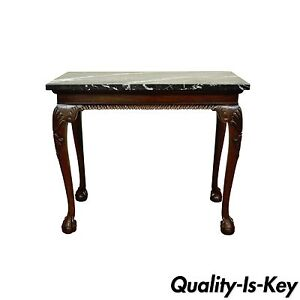 Vintage Carved Mahogany Chippendale Style Ball And Claw Marble Top Console Table