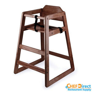 Restaurant Wooden High Chair Child Seat With Seat Belt Mahogany Finish