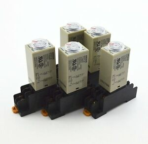 5pcs H3y 2 Ac 110v Delay Timer Time Relay 0 5 Minute With Base
