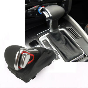 Leather Chrome Gear Shift Knob Gaiter Boot Cover For A3 A4 A5 A6 Q7 At
