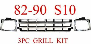 82 90 Chevy S10 3pc Grill Head Light Door Kit Chrome Silver