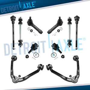 10pc Front Upper Control Arm Tie Rod Suspension Kit Chevy Gmc Sierra 1500 6 Lug