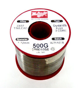 New Multicore Wire Solder 63 47 Tin lead Crystal 400 1 22mm Diam Free Ship