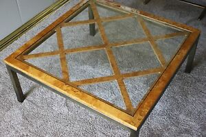 Rare Mid Century Burlwood And Solid Brass Coffee Table Hollywood Regency