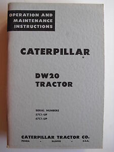 Caterpillar Dw20 Tractor Operation Maintenance Instructions 57c1 up 67c1 up