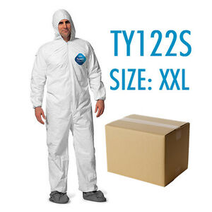 Case Of 25 Dupont Tyvek Coverall Bunny Suite With Hood And Boots Ty122s 2xl