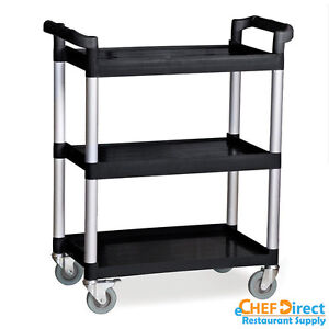Commercial Polyurethane 3 tier Black Restaurant Bus Cart Black