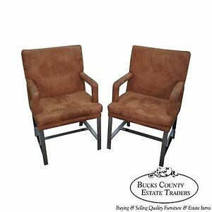 Milo Baughman Mid Century Modern Pair Of Chrome Frame Arm Chairs