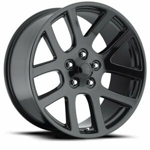 22 Srt10 Dodge Ram Laramie 1500 Factory Wheels Rims Black With Silver Accents