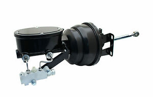 1960 66 Chevy Truck 8 Dual Black Power Brake Booster Oval Tandem Master Kit