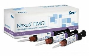 Nexus Rmgi Resin Glass Ionomer Luting Cement 5 Gm Dual Mixing Syringe Kerr