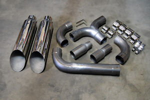 Ford F250 F350 F450 6 4 Superduty Powerstroke Diesel Polished Dual 8 Stack Kit