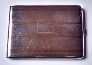 Antique Sterling Silver 14k Gold And Rose Gold Inlay Art Deco Cigarette Box Case