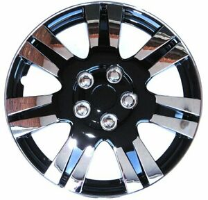 Kt Abs Plastic Aftermarket Wheel Cover 15 Chrome Ice Black 4 Piece Kt100315cib