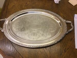 Onieda Silver Plate Butlers Tray Oval With Handles 24 Sp03
