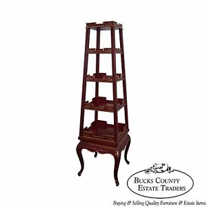 Wildwood Accents Painted Gilt Accented Obelisk Etagere