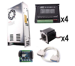 Cnc Tb6560 4 Axis Stepper Motor Driver Board Kit Usb Breakout Card Power Supply