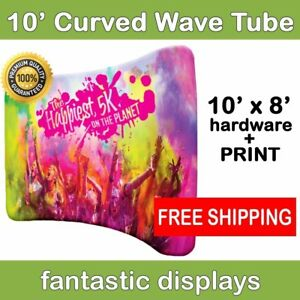 10ft Curved Tube Wavy Pop Up Display With Print Included For Trade Show Backdrop