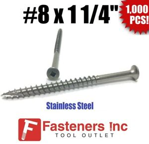 qty 1000 8 X 1 1 4 Stainless Steel Deck Screws Square Drive Wood Type 17