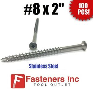 qty 100 8 X 2 Stainless Steel Deck Screws Square Drive Wood Type 17