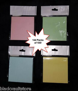 Bulk Lot Of 144 Square Sticky Note Pads 3 X 3 Assorted Colors 14 400 Total